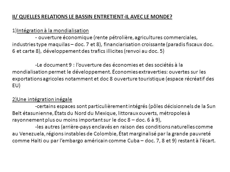 II/ QUELLES RELATIONS LE BASSIN ENTRETIENT-IL AVEC LE MONDE.