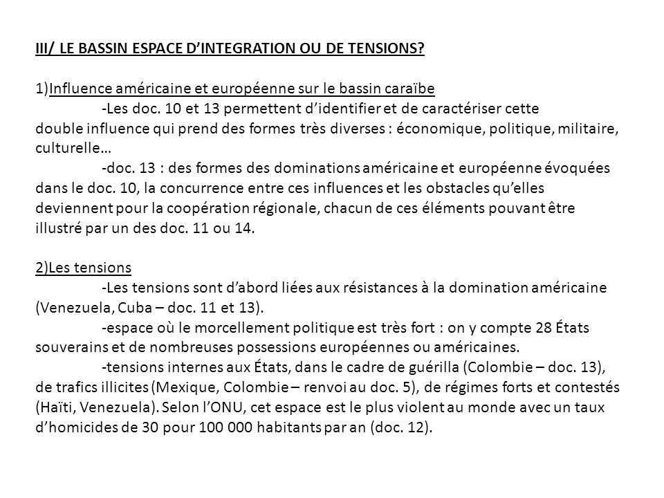 III/ LE BASSIN ESPACE DINTEGRATION OU DE TENSIONS.