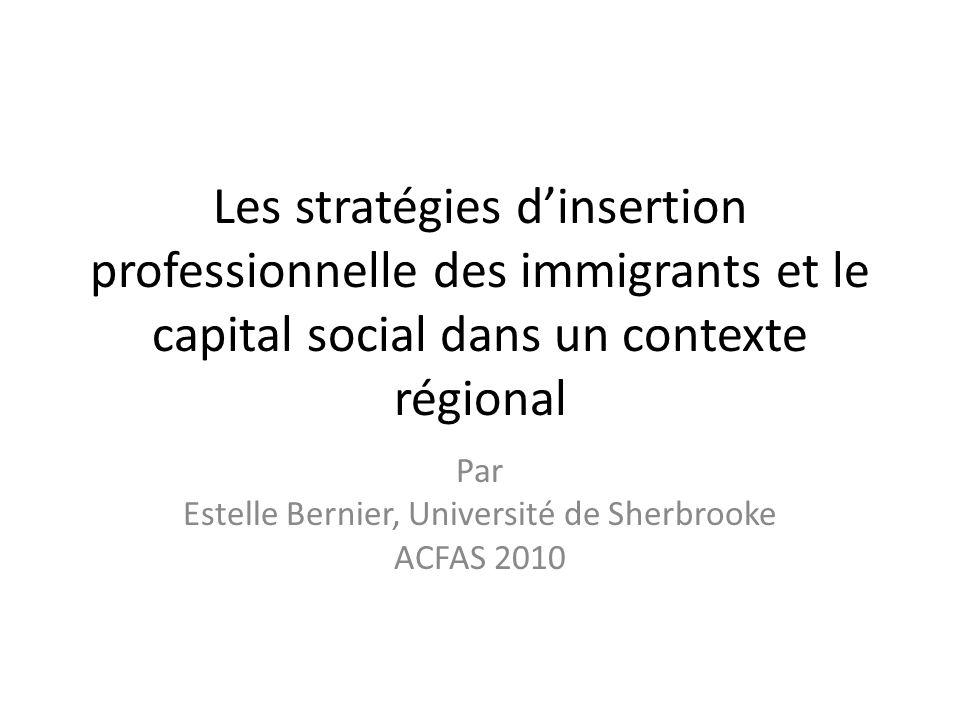 Les stratégies dinsertion professionnelle des immigrants et le capital social dans un contexte régional Par Estelle Bernier, Université de Sherbrooke ACFAS 2010