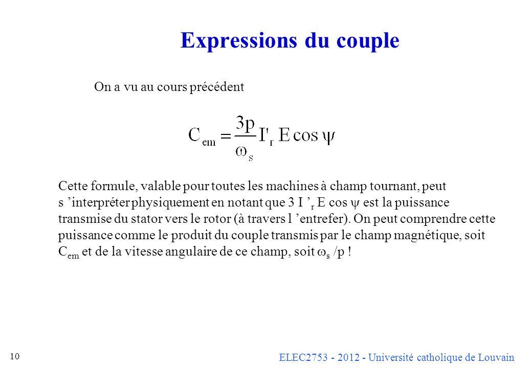 ELEC2753 - 2012 - Université catholique de Louvain 10 Expressions du couple Cette formule, valable pour toutes les machines à champ tournant, peut s i