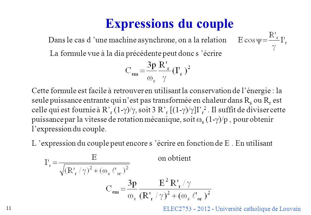 ELEC2753 - 2012 - Université catholique de Louvain 11 Expressions du couple Dans le cas d une machine asynchrone, on a la relation Cette formule est f
