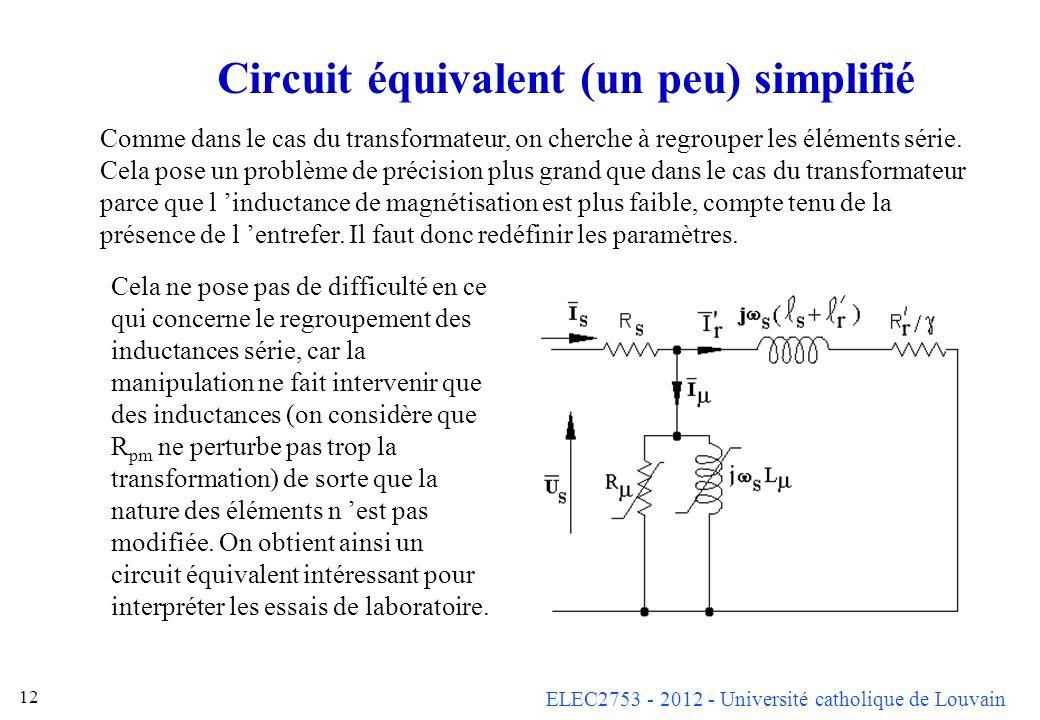 ELEC2753 - 2012 - Université catholique de Louvain 12 Circuit équivalent (un peu) simplifié Comme dans le cas du transformateur, on cherche à regroupe