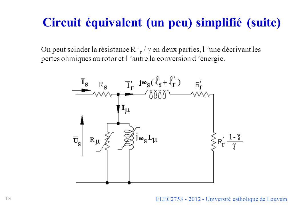 ELEC2753 - 2012 - Université catholique de Louvain 13 Circuit équivalent (un peu) simplifié (suite) On peut scinder la résistance R r / en deux partie