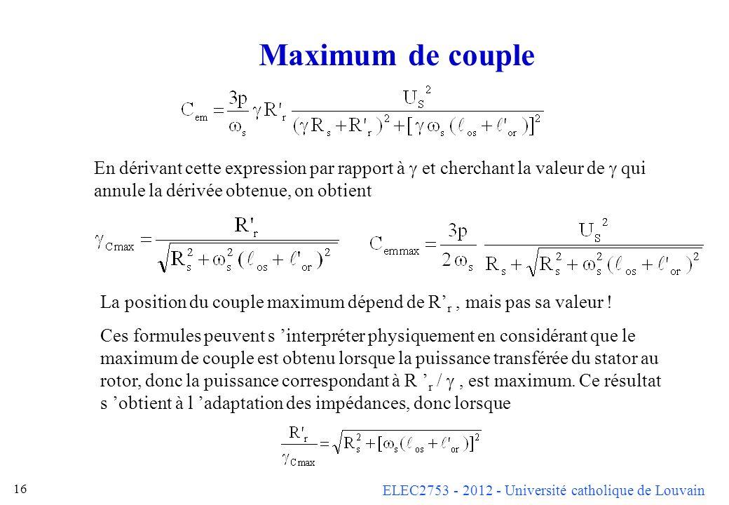 ELEC2753 - 2012 - Université catholique de Louvain 16 Maximum de couple En dérivant cette expression par rapport à et cherchant la valeur de qui annul