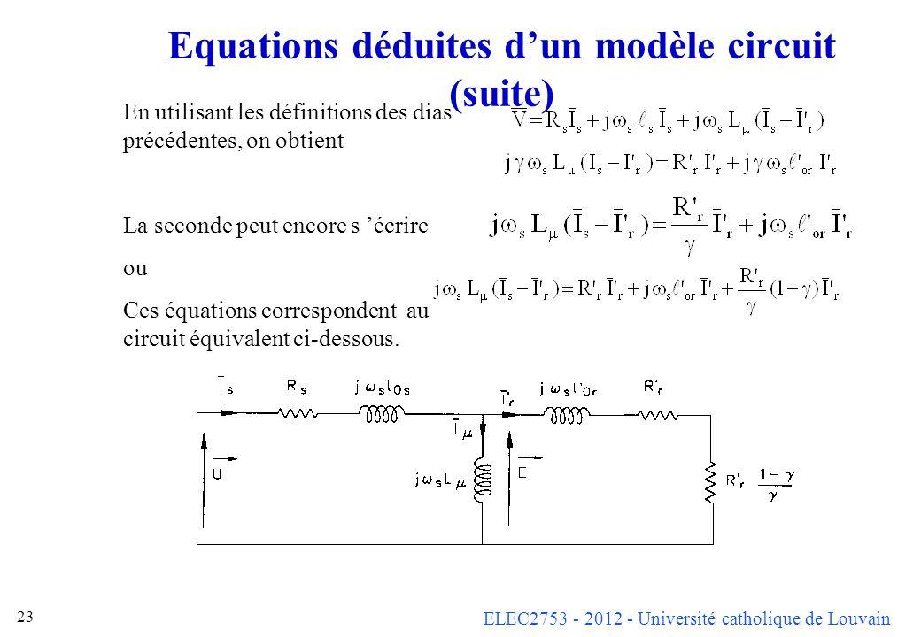 ELEC2753 - 2012 - Université catholique de Louvain 23 Equations déduites dun modèle circuit (suite) En utilisant les définitions des dias précédentes,