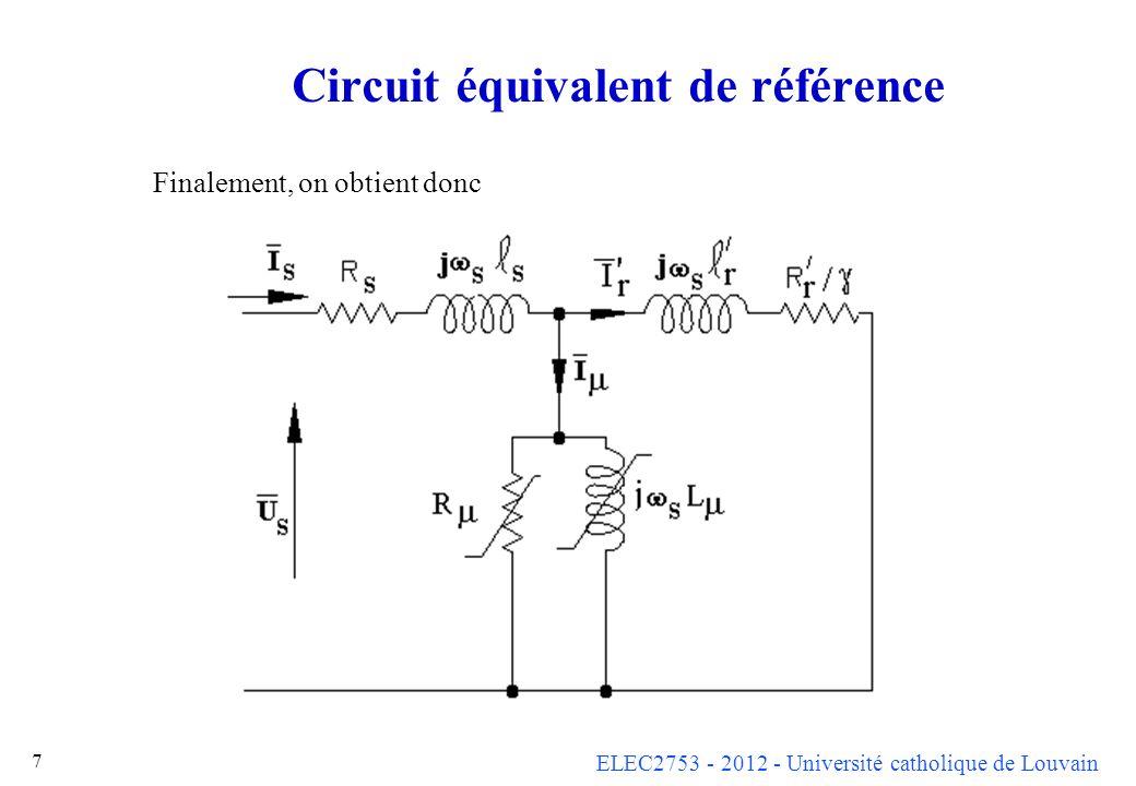ELEC2753 - 2012 - Université catholique de Louvain 8 Circuit équivalent simplifié Comme dans le cas du transformateur, ce circuit équivalent en « T » peut être remplacé par un circuit équivalent simplifié.