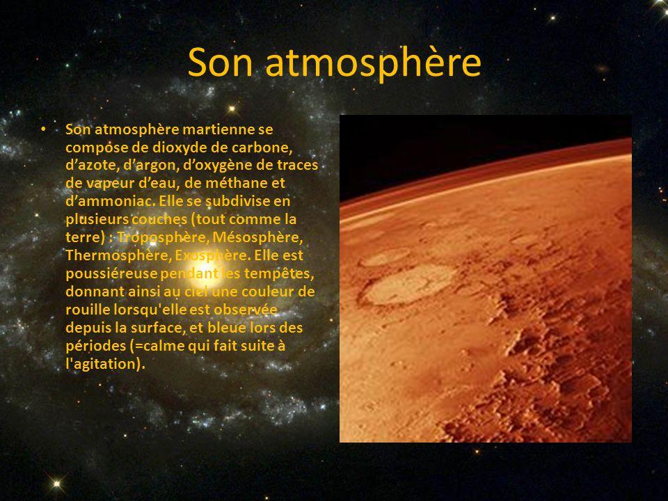 Son atmosphère Son atmosphère martienne se compose de dioxyde de carbone, dazote, dargon, doxygène de traces de vapeur deau, de méthane et dammoniac.