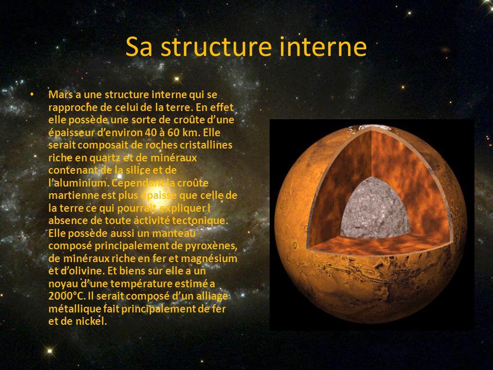 Sa structure interne Mars a une structure interne qui se rapproche de celui de la terre. En effet elle possède une sorte de croûte dune épaisseur denv