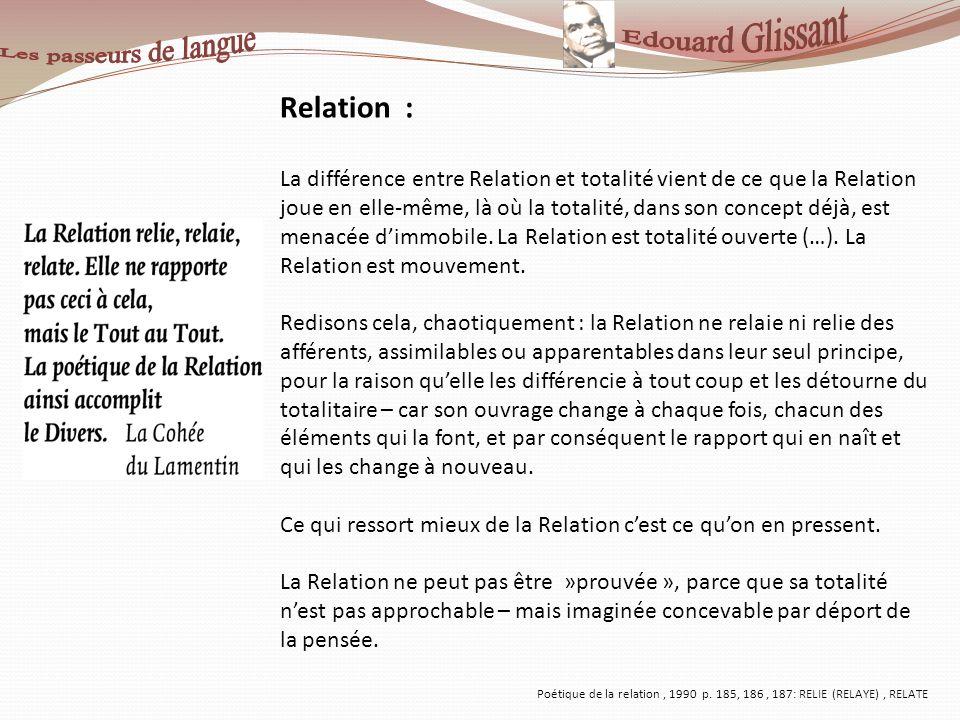 Relation : La différence entre Relation et totalité vient de ce que la Relation joue en elle-même, là où la totalité, dans son concept déjà, est menac