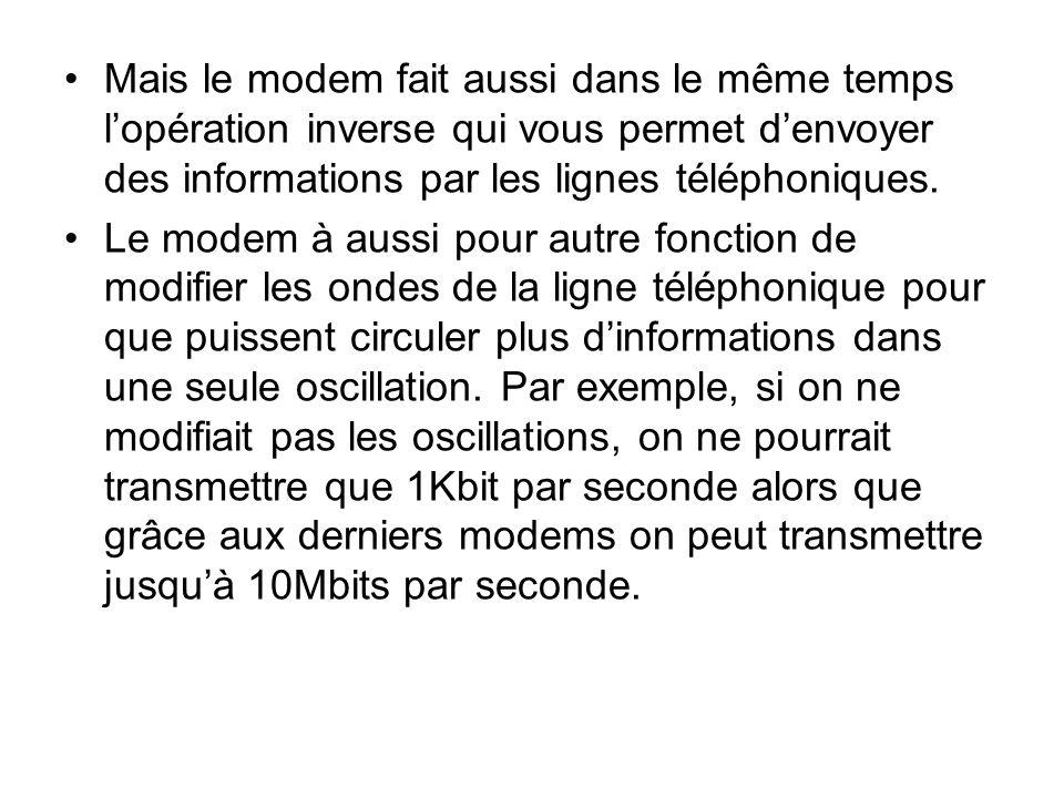 Mais le modem fait aussi dans le même temps lopération inverse qui vous permet denvoyer des informations par les lignes téléphoniques. Le modem à auss