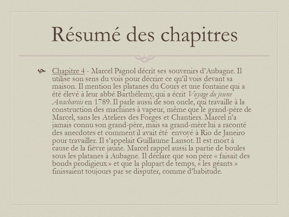 Résumé des chapitres Chapitre 4 - Marcel Pagnol décrit ses souvenirs dAubagne.