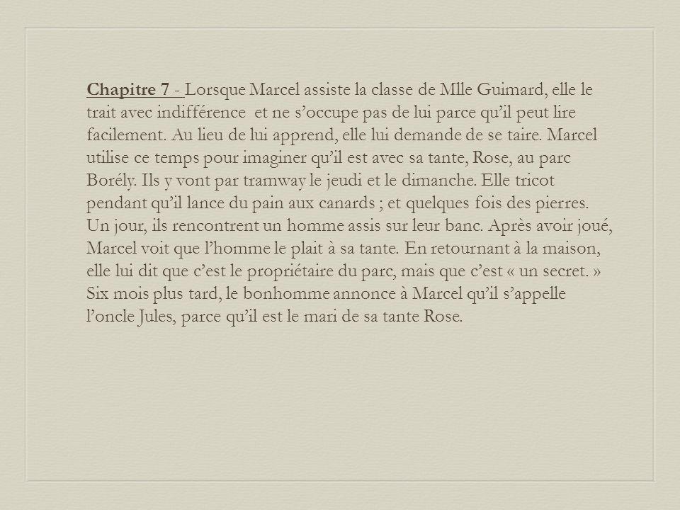 Chapitre 7 - Lorsque Marcel assiste la classe de Mlle Guimard, elle le trait avec indifférence et ne soccupe pas de lui parce quil peut lire facilement.