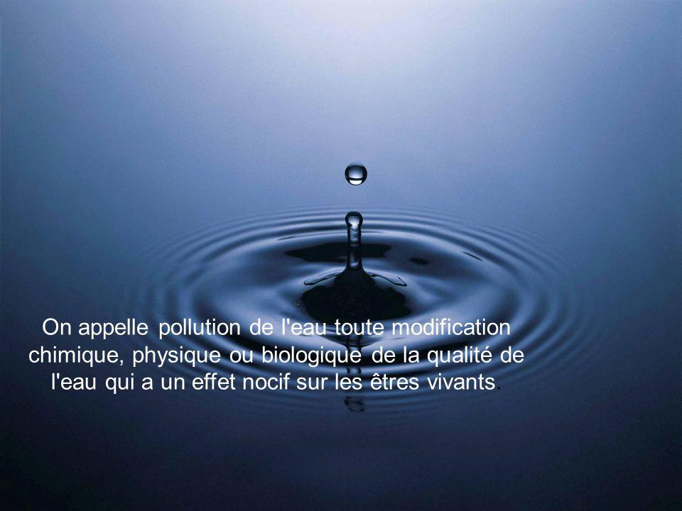 On appelle pollution de l'eau toute modification chimique, physique ou biologique de la qualité de l'eau qui a un effet nocif sur les êtres vivants.