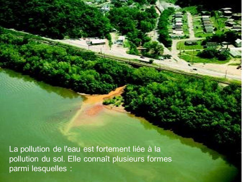 La pollution de l'eau est fortement liée à la pollution du sol. Elle connaît plusieurs formes parmi lesquelles :