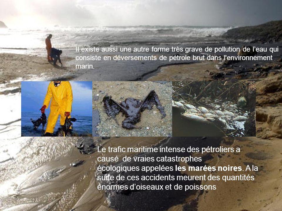 Il existe aussi une autre forme très grave de pollution de leau qui consiste en déversements de pétrole brut dans l'environnement marin. Le trafic mar