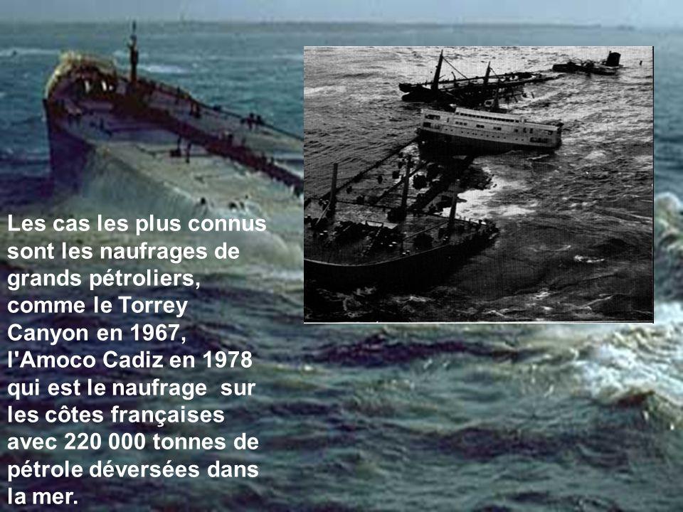 Les cas les plus connus sont les naufrages de grands pétroliers, comme le Torrey Canyon en 1967, l'Amoco Cadiz en 1978 qui est le naufrage sur les côt