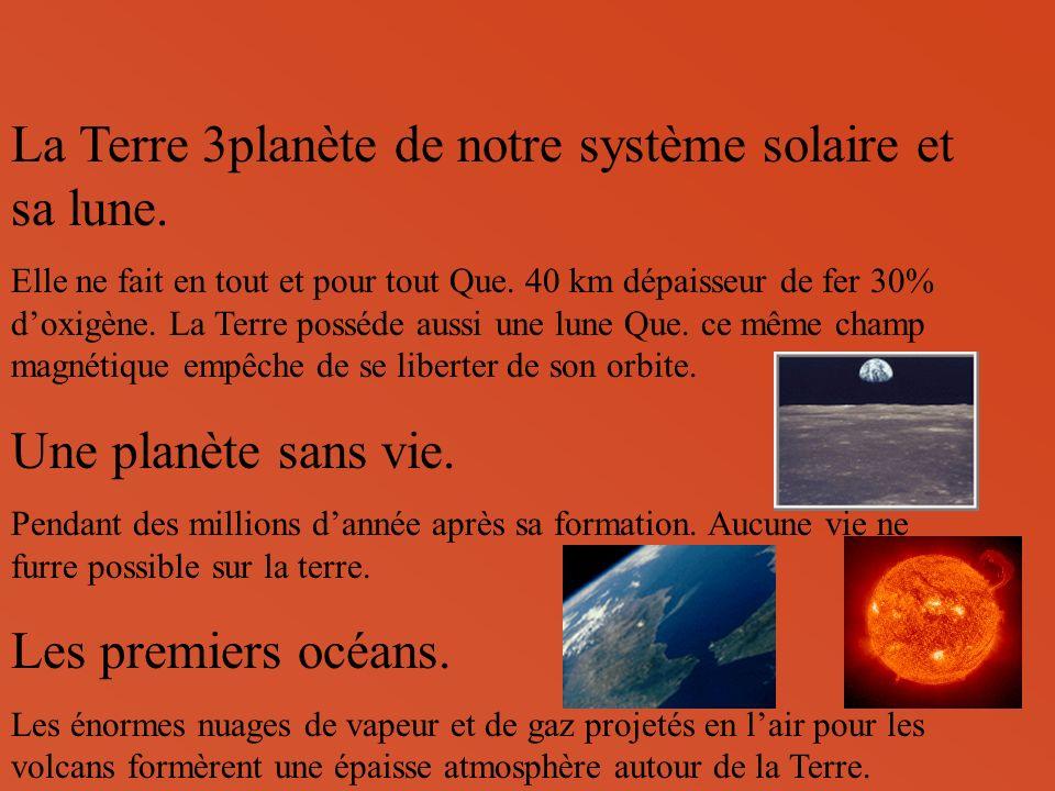 La Terre 3planète de notre système solaire et sa lune.