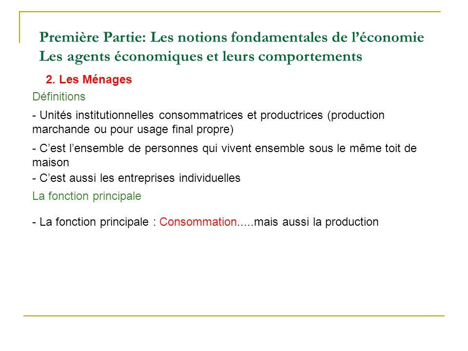 2. Les Ménages Première Partie: Les notions fondamentales de léconomie Les agents économiques et leurs comportements - Unités institutionnelles consom