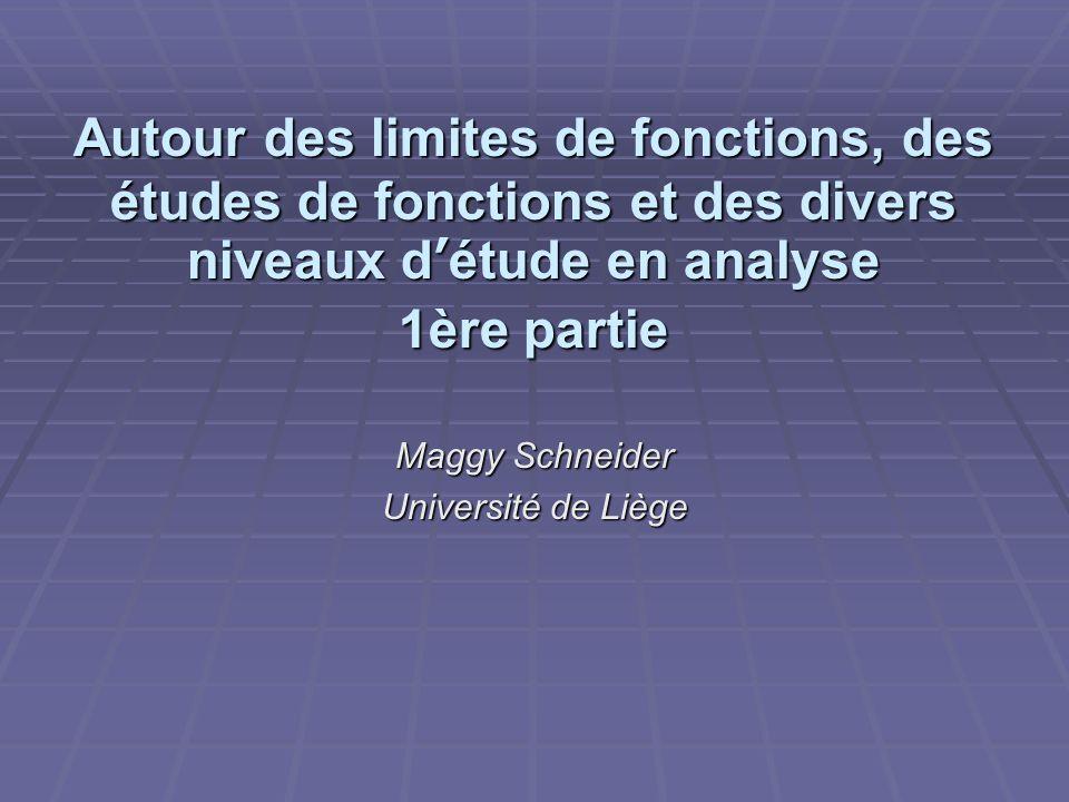 Autour des limites de fonctions, des études de fonctions et des divers niveaux détude en analyse 1ère partie Maggy Schneider Université de Liège