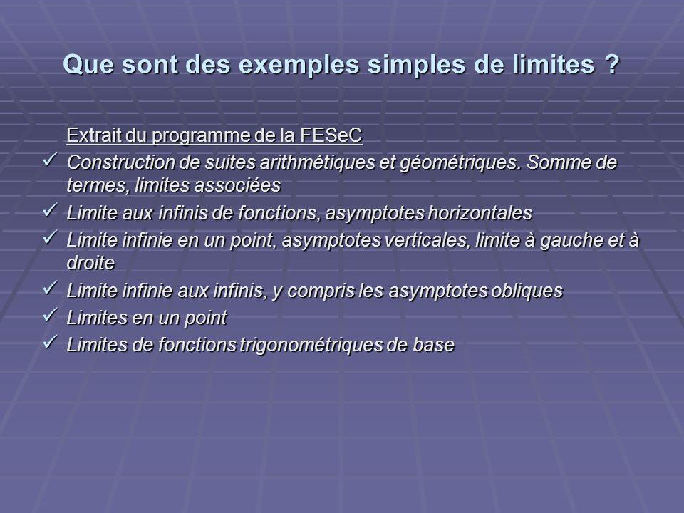 Que sont des exemples simples de limites ? Extrait du programme de la FESeC Construction de suites arithmétiques et géométriques. Somme de termes, lim