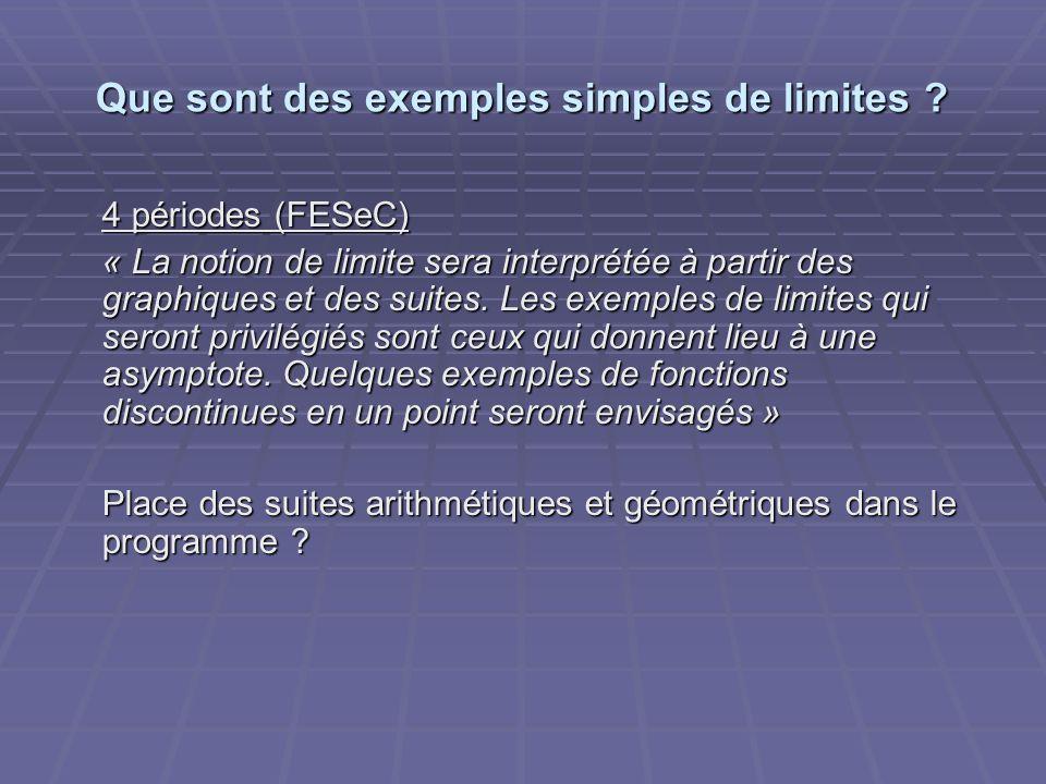 Que sont des exemples simples de limites ? 4 périodes (FESeC) « La notion de limite sera interprétée à partir des graphiques et des suites. Les exempl
