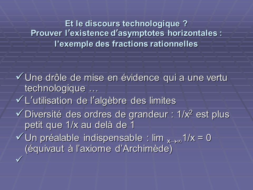 Et le discours technologique ? Prouver lexistence dasymptotes horizontales : lexemple des fractions rationnelles Une drôle de mise en évidence qui a u