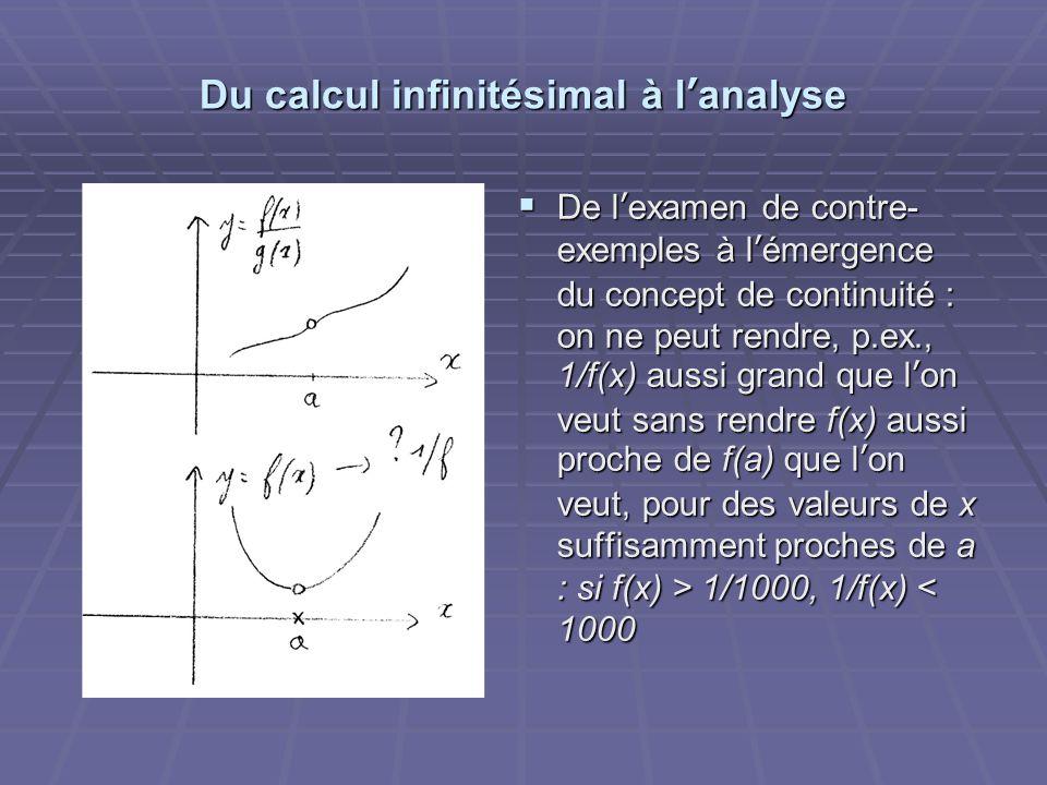Du calcul infinitésimal à lanalyse De lexamen de contre- exemples à lémergence du concept de continuité : on ne peut rendre, p.ex., 1/f(x) aussi grand