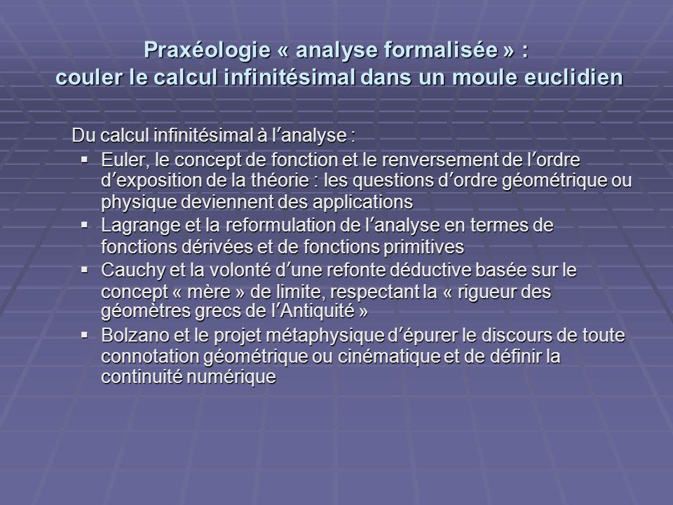 Praxéologie « analyse formalisée » : couler le calcul infinitésimal dans un moule euclidien Du calcul infinitésimal à lanalyse : Euler, le concept de
