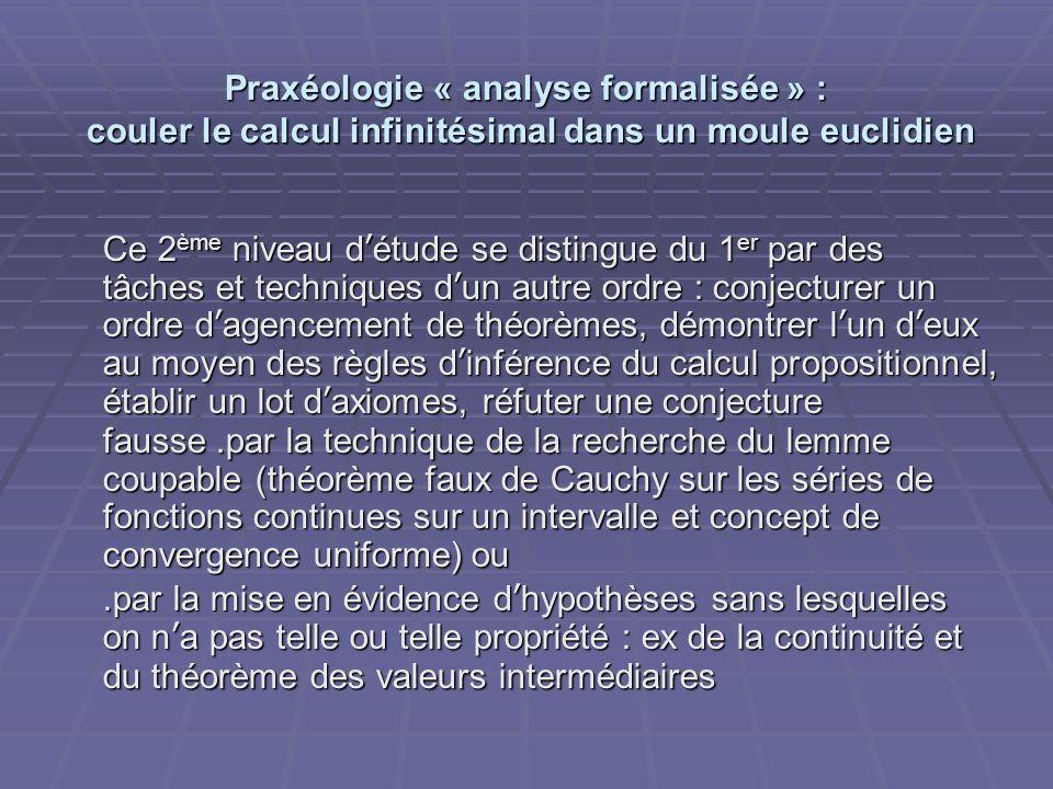 Praxéologie « analyse formalisée » : couler le calcul infinitésimal dans un moule euclidien Ce 2 ème niveau détude se distingue du 1 er par des tâches