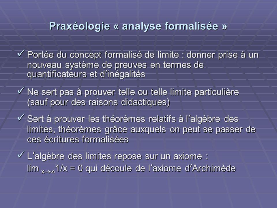 Praxéologie « analyse formalisée » Portée du concept formalisé de limite : donner prise à un nouveau système de preuves en termes de quantificateurs e