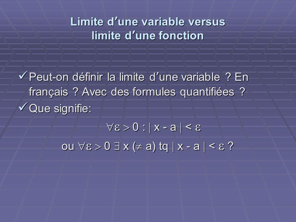 Limite dune variable versus limite dune fonction Peut-on définir la limite dune variable ? En français ? Avec des formules quantifiées ? Peut-on défin