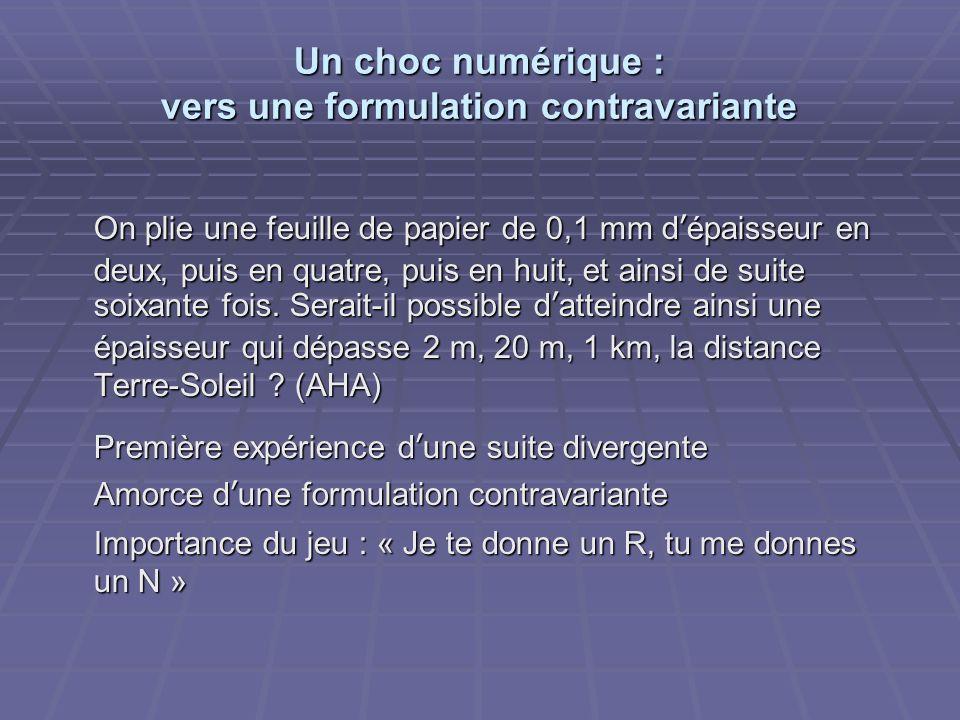 Un choc numérique : vers une formulation contravariante On plie une feuille de papier de 0,1 mm dépaisseur en deux, puis en quatre, puis en huit, et a
