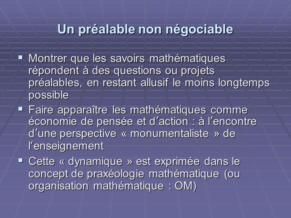 Un préalable non négociable Montrer que les savoirs mathématiques répondent à des questions ou projets préalables, en restant allusif le moins longtem