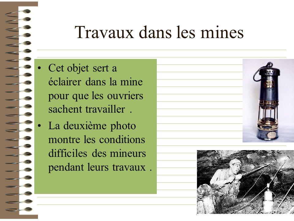 Travaux dans les mines Cet objet sert a éclairer dans la mine pour que les ouvriers sachent travailler.