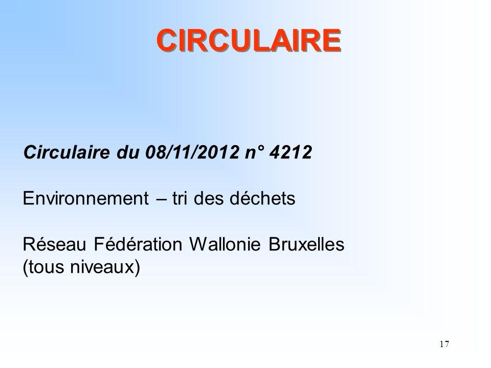 17 CIRCULAIRE Circulaire du 08/11/2012 n° 4212 Environnement – tri des déchets Réseau Fédération Wallonie Bruxelles (tous niveaux)