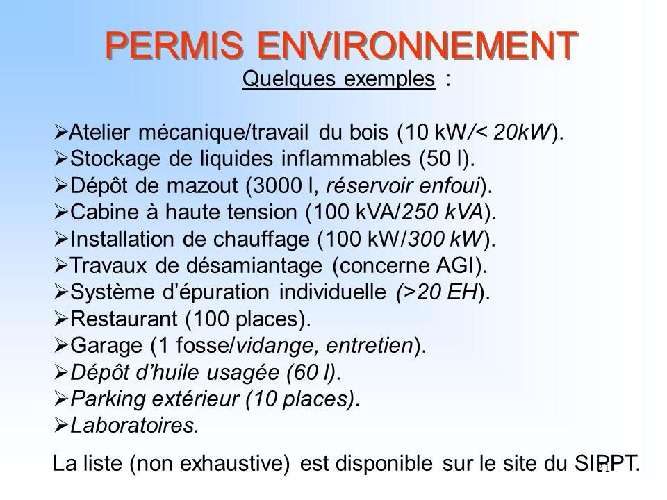21 PERMIS ENVIRONNEMENT Quelques exemples : Atelier mécanique/travail du bois (10 kW/< 20kW). Stockage de liquides inflammables (50 l). Dépôt de mazou
