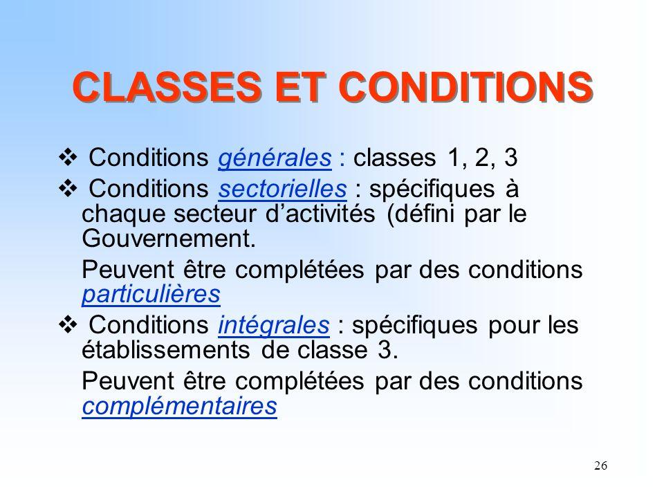 26 CLASSES ET CONDITIONS Conditions générales : classes 1, 2, 3 Conditions sectorielles : spécifiques à chaque secteur dactivités (défini par le Gouve