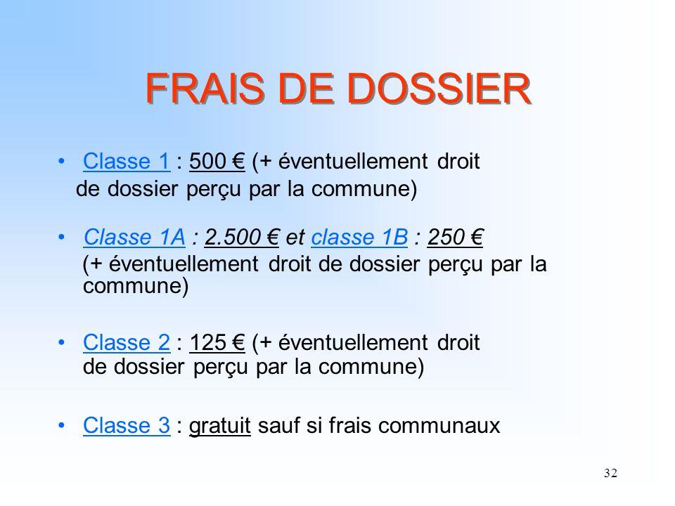 32 FRAIS DE DOSSIER Classe 1 : 500 (+ éventuellement droit de dossier perçu par la commune) Classe 1A : 2.500 et classe 1B : 250 (+ éventuellement dro