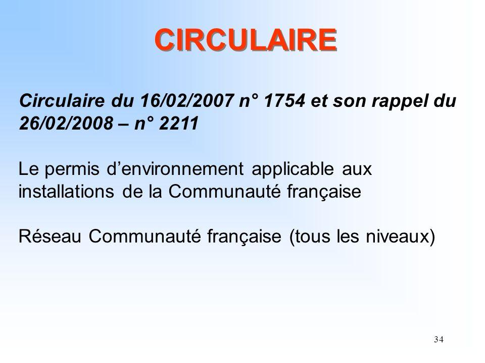 34 CIRCULAIRE Circulaire du 16/02/2007 n° 1754 et son rappel du 26/02/2008 – n° 2211 Le permis denvironnement applicable aux installations de la Commu