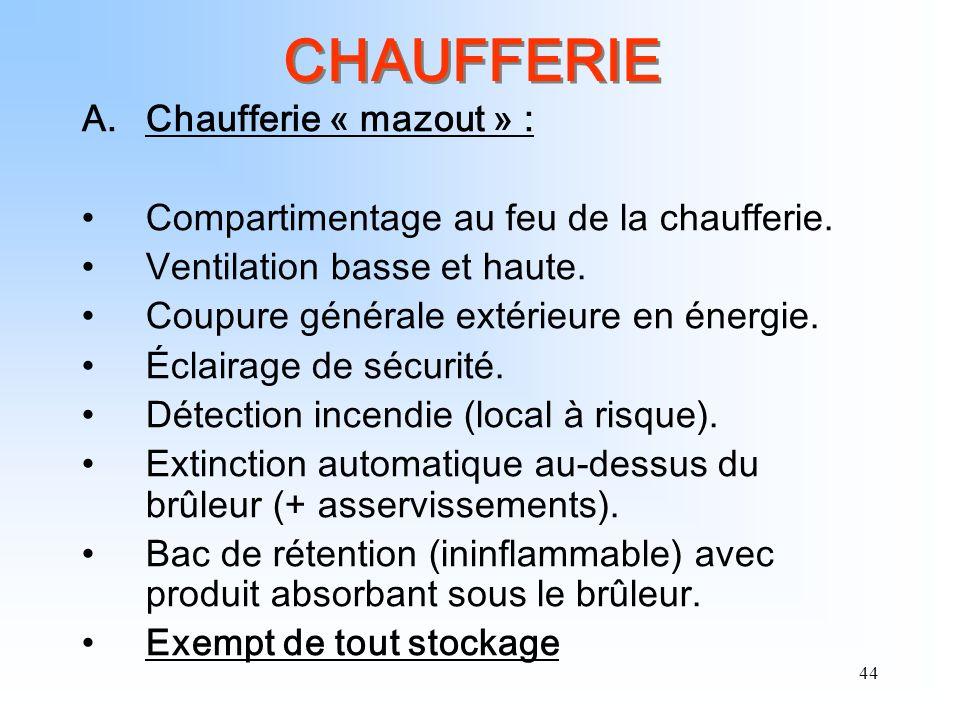 44 CHAUFFERIE A.Chaufferie « mazout » : Compartimentage au feu de la chaufferie. Ventilation basse et haute. Coupure générale extérieure en énergie. É