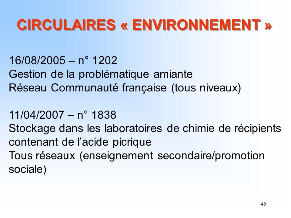 46 CIRCULAIRES « ENVIRONNEMENT » 16/08/2005 – n° 1202 Gestion de la problématique amiante Réseau Communauté française (tous niveaux) 11/04/2007 – n° 1