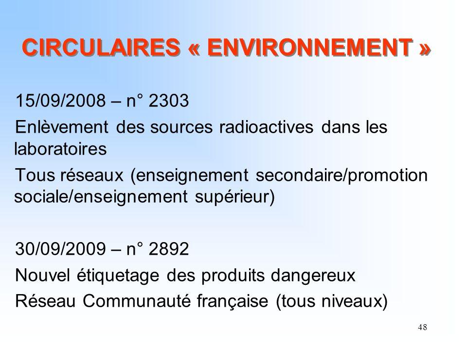 48 CIRCULAIRES « ENVIRONNEMENT » 15/09/2008 – n° 2303 Enlèvement des sources radioactives dans les laboratoires Tous réseaux (enseignement secondaire/