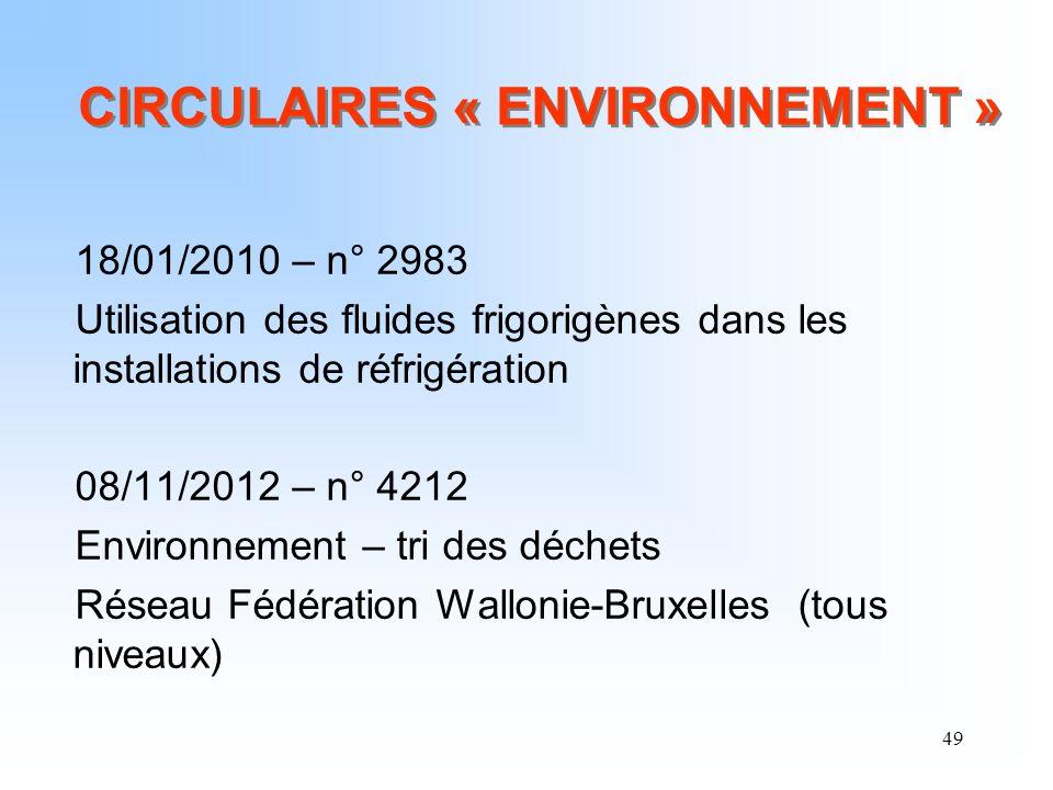 49 CIRCULAIRES « ENVIRONNEMENT » 18/01/2010 – n° 2983 Utilisation des fluides frigorigènes dans les installations de réfrigération 08/11/2012 – n° 421