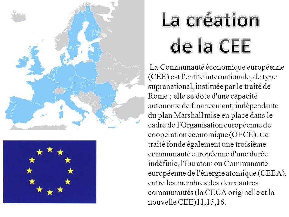 La Communauté économique européenne (CEE) est l'entité internationale, de type supranational, instituée par le traité de Rome ; elle se dote d'une cap