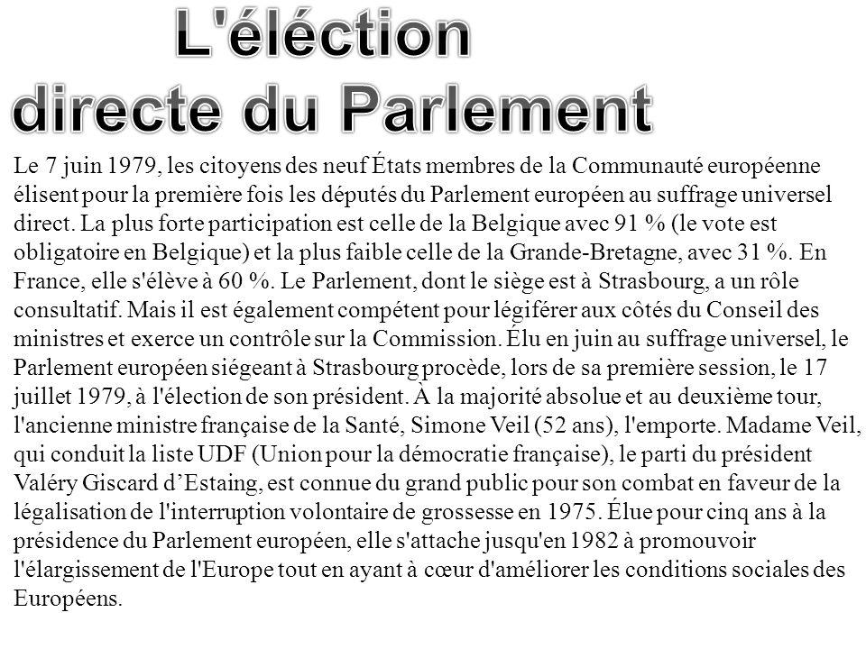 Le 7 juin 1979, les citoyens des neuf États membres de la Communauté européenne élisent pour la première fois les députés du Parlement européen au suf