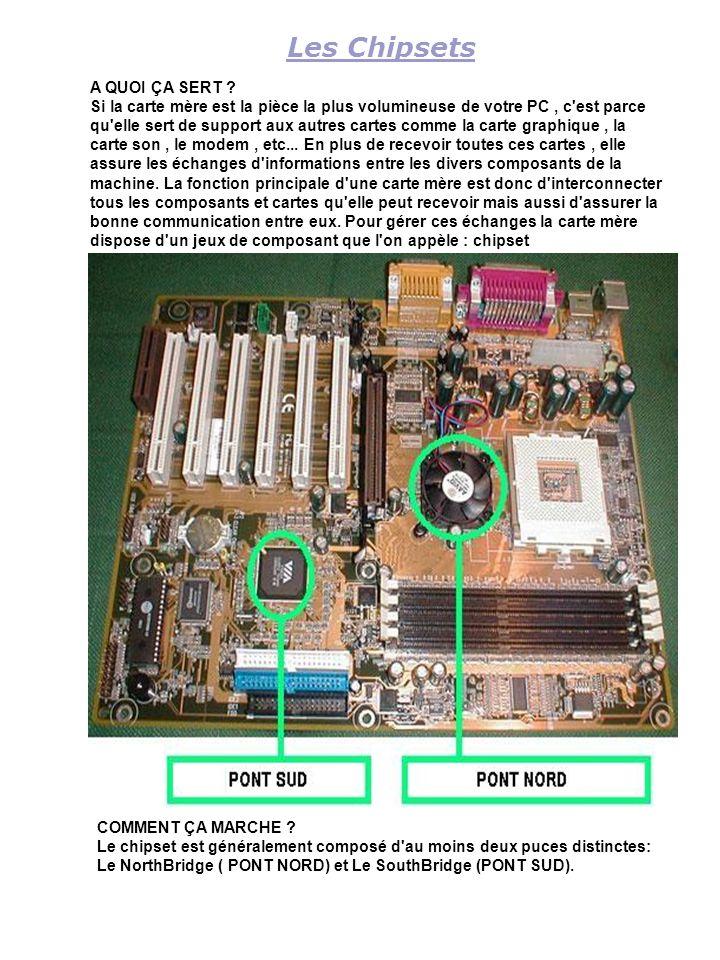 Les Chipsets A QUOI ÇA SERT ? Si la carte mère est la pièce la plus volumineuse de votre PC, c'est parce qu'elle sert de support aux autres cartes com