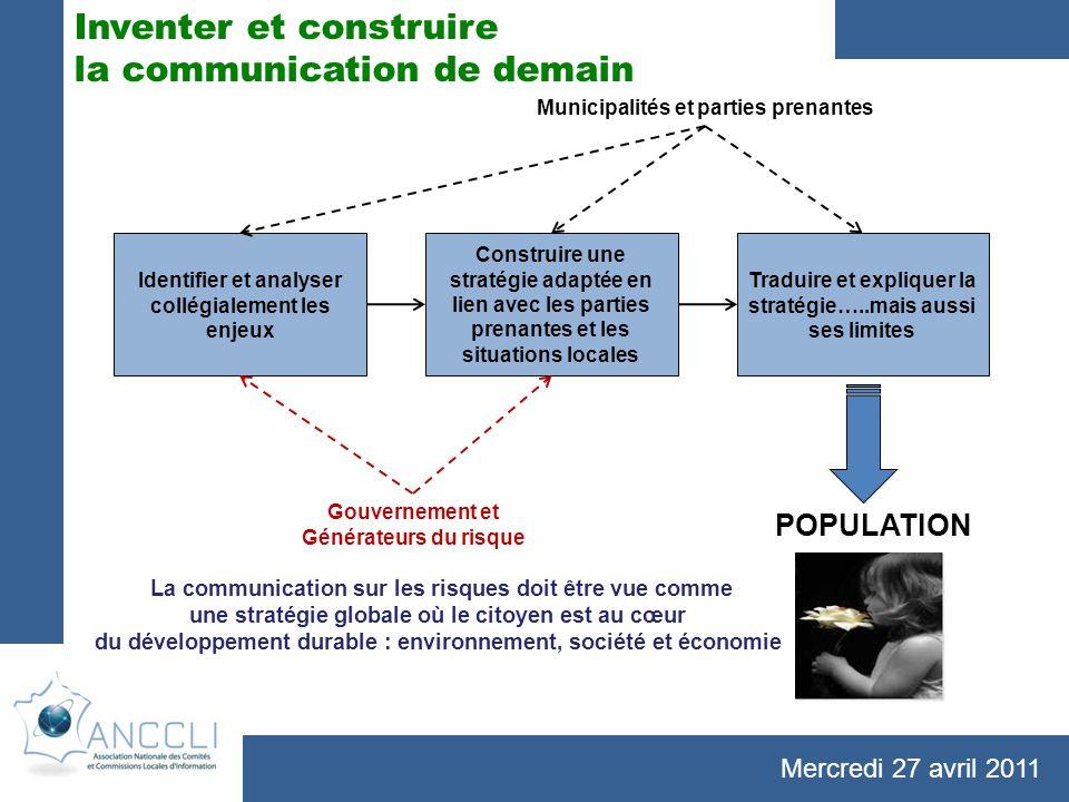 Mercredi 27 avril 2011 Identifier et analyser collégialement les enjeux Construire une stratégie adaptée en lien avec les parties prenantes et les sit