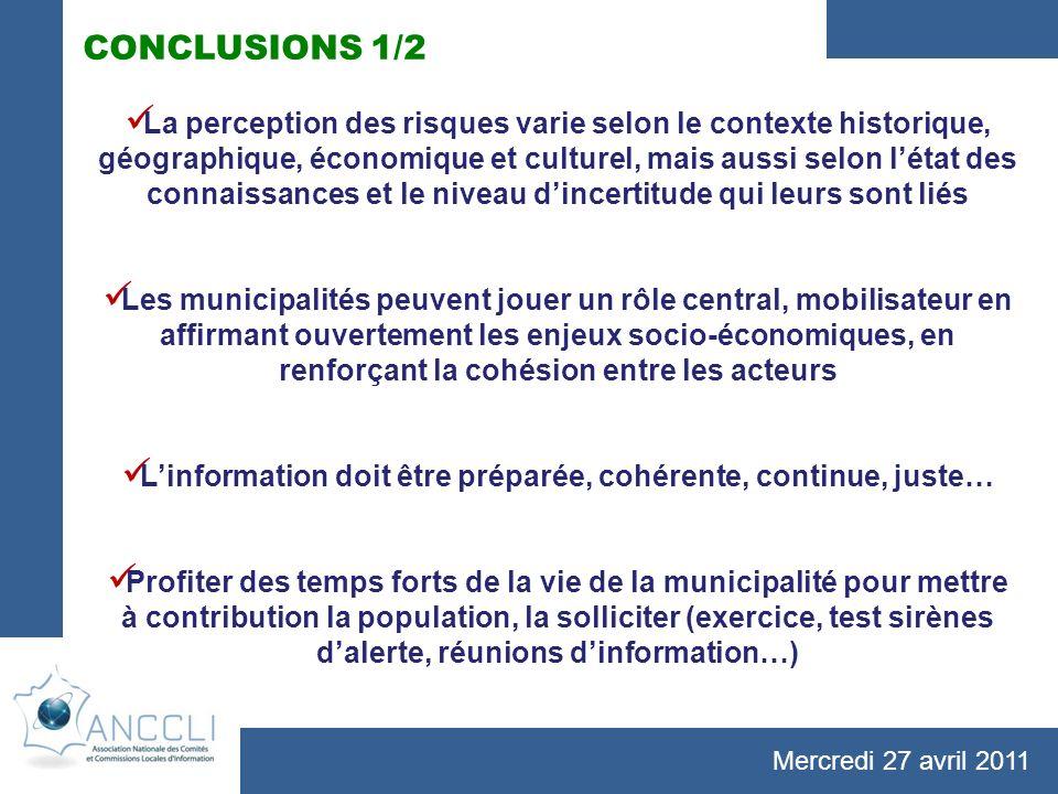 Mercredi 27 avril 2011 CONCLUSIONS 1/2 La perception des risques varie selon le contexte historique, géographique, économique et culturel, mais aussi