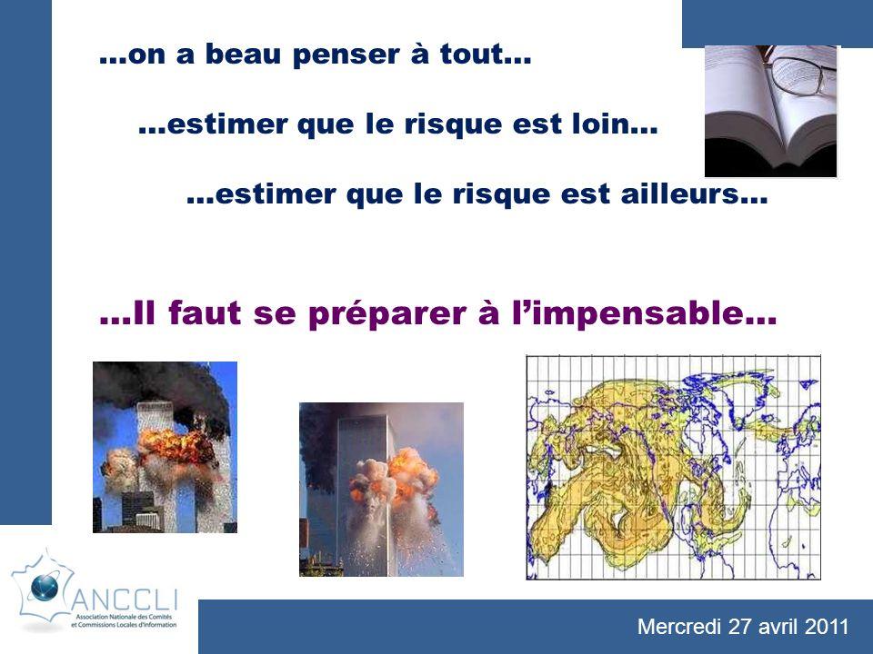 Mercredi 27 avril 2011 …on a beau penser à tout… …estimer que le risque est loin… …estimer que le risque est ailleurs… …Il faut se préparer à limpensable…
