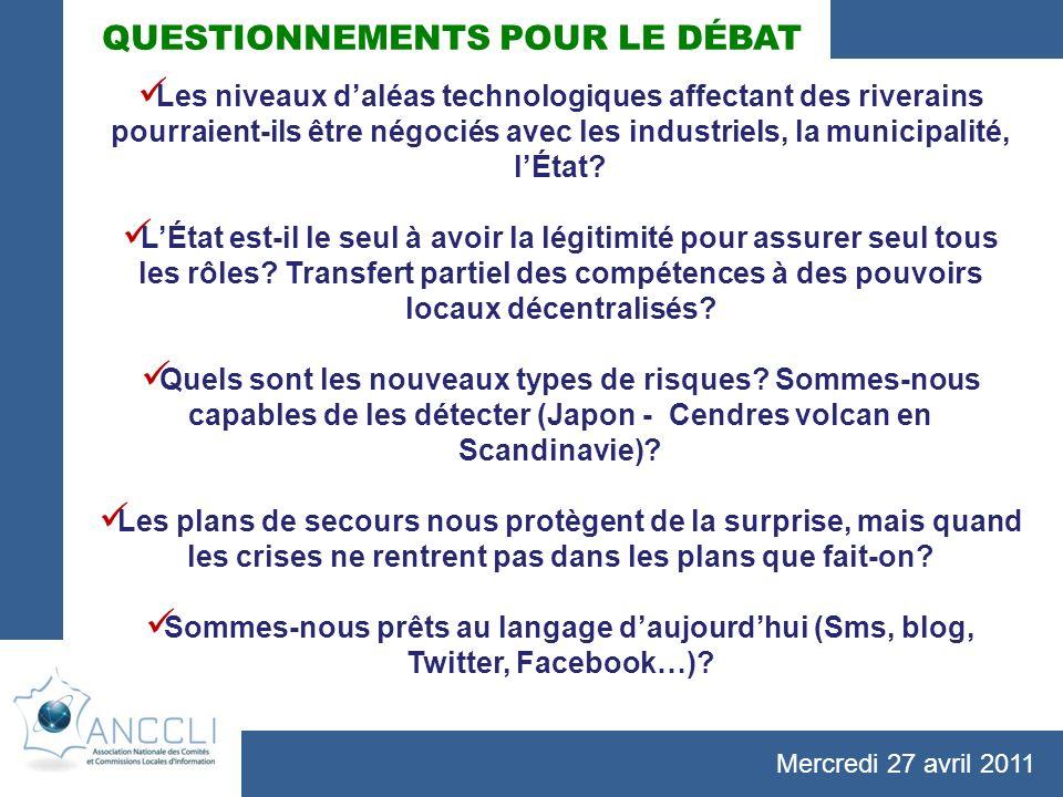Mercredi 27 avril 2011 QUESTIONNEMENTS POUR LE DÉBAT Les niveaux daléas technologiques affectant des riverains pourraient-ils être négociés avec les industriels, la municipalité, lÉtat.
